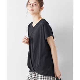 綿100%ゆったり裾タックTシャツ (ブラック)