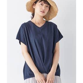 綿100%ゆったり裾タックTシャツ (ネイビー)