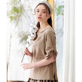 綿100%袖タックTシャツ (モカ)