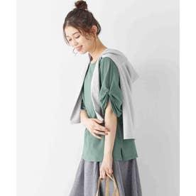 綿100%袖タックTシャツ (グリーン)