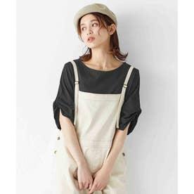 綿100%袖タックTシャツ (ブラック)