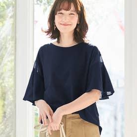 【5つの機能付】シフォン切替フレアー袖Tシャツ (ネイビー)