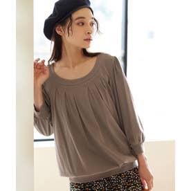 綿100%ふんわり胸元タックカットソー(7分袖) (モカ)
