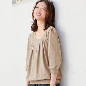 綿100%ふんわり胸元タックカットソー(7分袖) (カフェオレ)