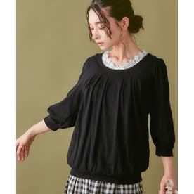 綿100%ふんわり胸元タックカットソー(7分袖) (ブラック)