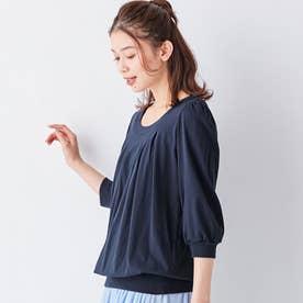 綿100%ふんわり胸元タックカットソー(7分袖) (ネイビー)