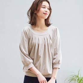 綿100%ふんわり胸元タックカットソー(7分袖) (ライトグレー)