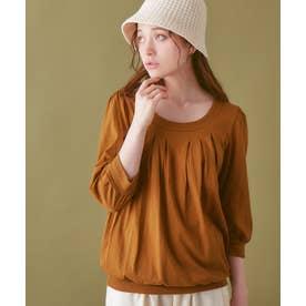綿100%ふんわり胸元タックカットソー(7分袖) (キャメル)