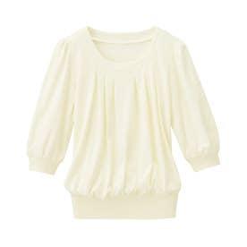 綿100%ふんわり胸元タックカットソー(7分袖) (オフホワイト)