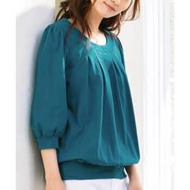 綿100%ふんわり胸元タックカットソー(7分袖) (ブルーグリーン)