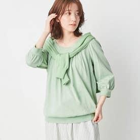 綿100%ふんわり胸元タックカットソー(7分袖) (ミント)