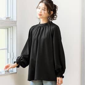 楽きれい見えパフ袖カットソーブラウス (ブラック)