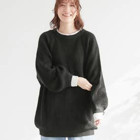 バルーン袖ゆるニット (ブラック)