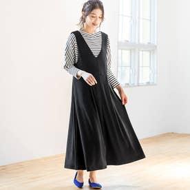 コーデュロイ風フレアージャンパースカート (ブラック)