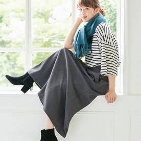 【蓄熱保温】裏ファーマキシ丈フレアースカート (杢チャコール)