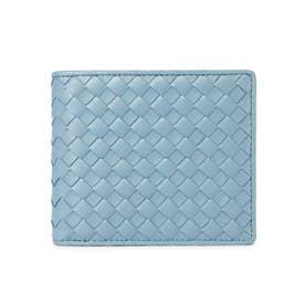 ラム革編込み二つ折り財布 (BLU)