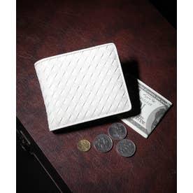 ラム革編込み二つ折り財布 (IVO)