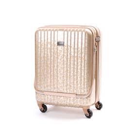 フロントポケット付きハードキャリー【機内持ち込み可サイズ】(スーツケース) (ゴールド)