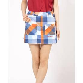 プラッドチェックptWst スカート (ブルー)