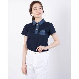 T/Cアロフトカノコ 切替半袖シャツ (ネイビー)
