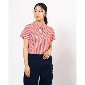 CandyストライプptDカノコ 半袖シャツ (レッド)
