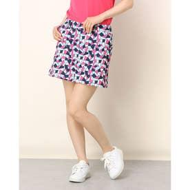 L-モザイクプリントツイル スカート (ピンク)