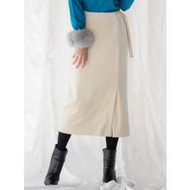 【WEB別注】バックルベロアタイトスカート (ベージュ)