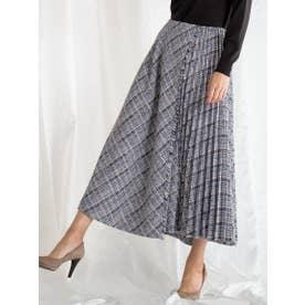 カラーツィードサイドプリーツスカート (ネイビー)