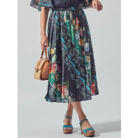 ≪SET UP対応≫ラインフラワープリントプリーツスカート (ネイビー)