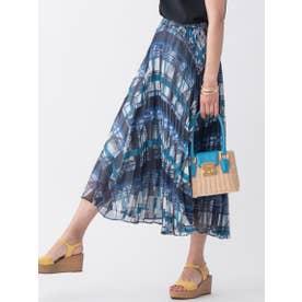 【大きいサイズ】≪SET UP対応≫幾何チェックプリントプリーツスカート (ブルー)