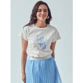 オーガニックコットンサンゴプリントTシャツ (ホワイト)