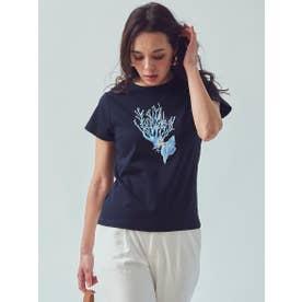 オーガニックコットンサンゴプリントTシャツ (ネイビー)