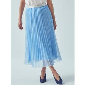 【大きいサイズ】シアーラインプリーツスカート (ブルー)
