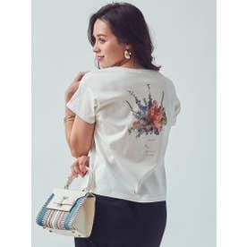 【大きいサイズ】オーガニックコットンフラワープリントTシャツ (ホワイト)