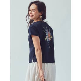 【大きいサイズ】オーガニックコットンフラワープリントTシャツ (ネイビー)