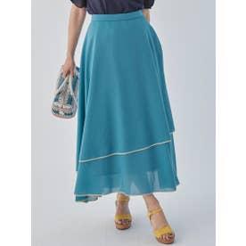 【大きいサイズ】パイピングイレギュラーフレアスカート (ブルー)