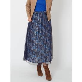 【大きいサイズ】サテンストライプ小花プリントチュールドッキングスカート (ブルー系その他)