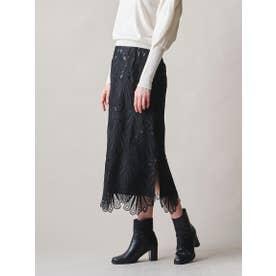【大きいサイズ】フラワーケミカルレーススカート≪SET UP対応≫ (ブラック)