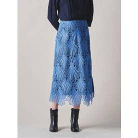 【大きいサイズ】フラワーケミカルレーススカート≪SET UP対応≫ (ブルー)