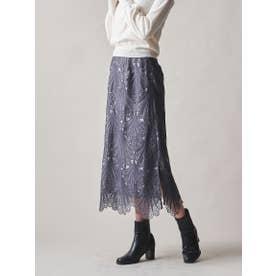 【大きいサイズ】フラワーケミカルレーススカート≪SET UP対応≫ (ライトグレー)