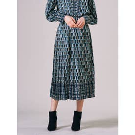 【大きいサイズ】幾何プリントロングプリーツスカート≪SET UP対応≫ (ブルー)