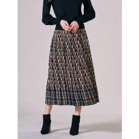 【大きいサイズ】幾何プリントロングプリーツスカート≪SET UP対応≫ (ブラウン)