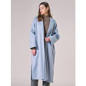 【大きいサイズ】SP140リバーシャルム加工ロングコート (ブルー)