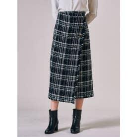 ファンシーチェックツィードラップスカート (ブラック系その他)