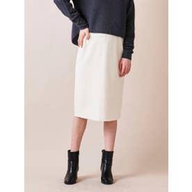 14G総針ボタン使いタイトスカート≪SET UP対応≫ (ホワイト)
