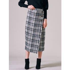 【大きいサイズ】ファンシーチェックツィードラップスカート (ホワイト系その他)
