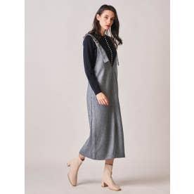 トルコヤーンツイードサロペットスカート (ブルー)