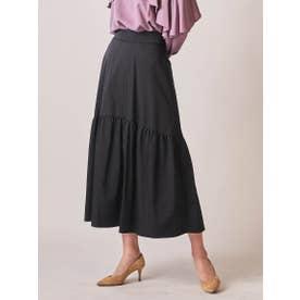 ソフトタッチタフタギャザー使いスカート (ブラック)