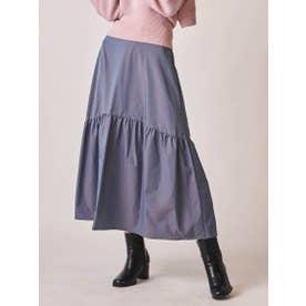 ソフトタッチタフタギャザー使いスカート (ブルー)