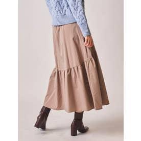 ソフトタッチタフタギャザー使いスカート (ベージュ)